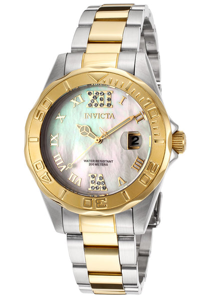Invicta Women's 14353 Pro Diver Quartz 3 Hand White Dial Watch