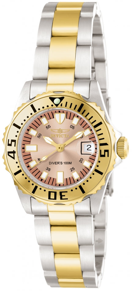 Invicta Women's 14370 Pro Diver Quartz 3 Hand Rose Gold Dial Watch