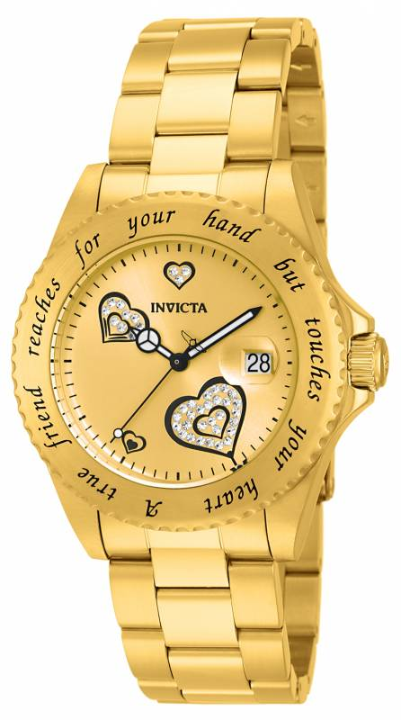 Invicta Women's 14733 Angel Quartz 3 Hand Gold Dial Watch