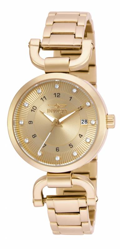 Invicta Women's 16225 Angel Quartz 3 Hand Gold Dial Watch