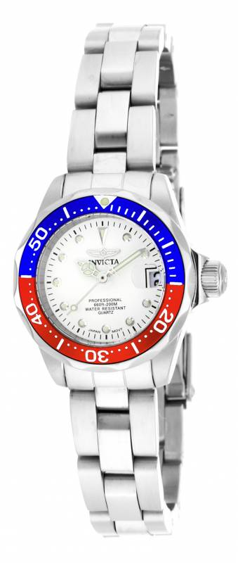 Invicta Women's 17033 Pro Diver Quartz 3 Hand Silver Dial Watch