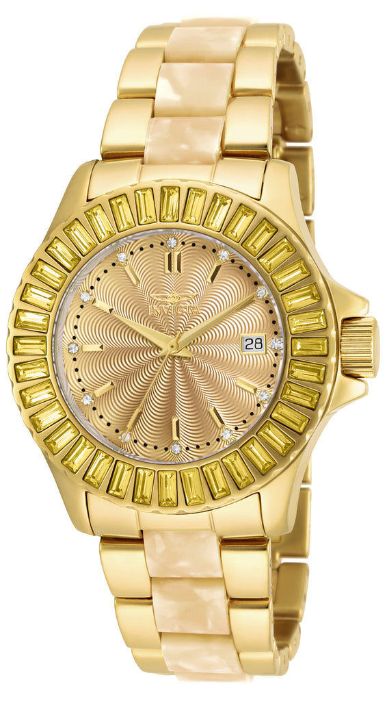 Invicta Women's 17941 Angel Quartz 3 Hand Gold Dial Watch