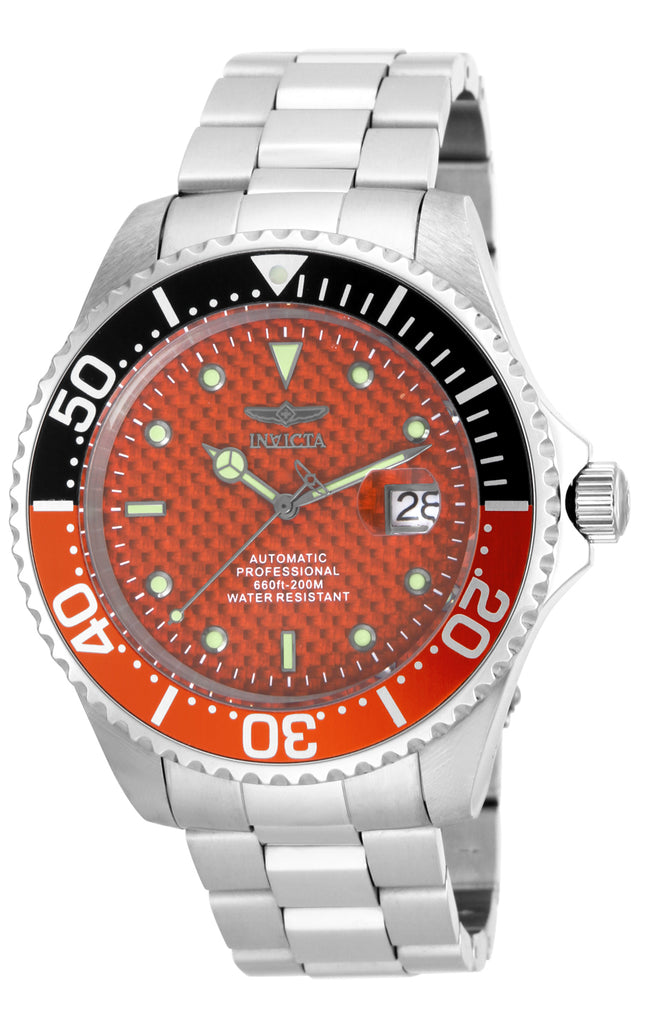 Invicta Men's 18262 Pro Diver Automatic 3 Hand Orange Dial Watch