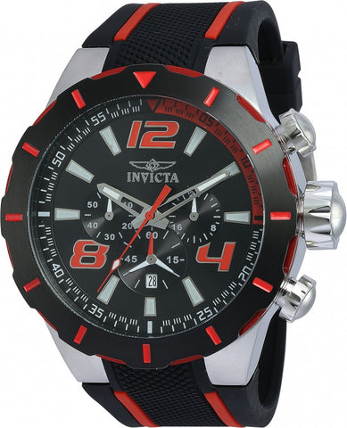 Invicta Men's 20105 S1 Rally Quartz 3 Hand Black, Red Dial Watch