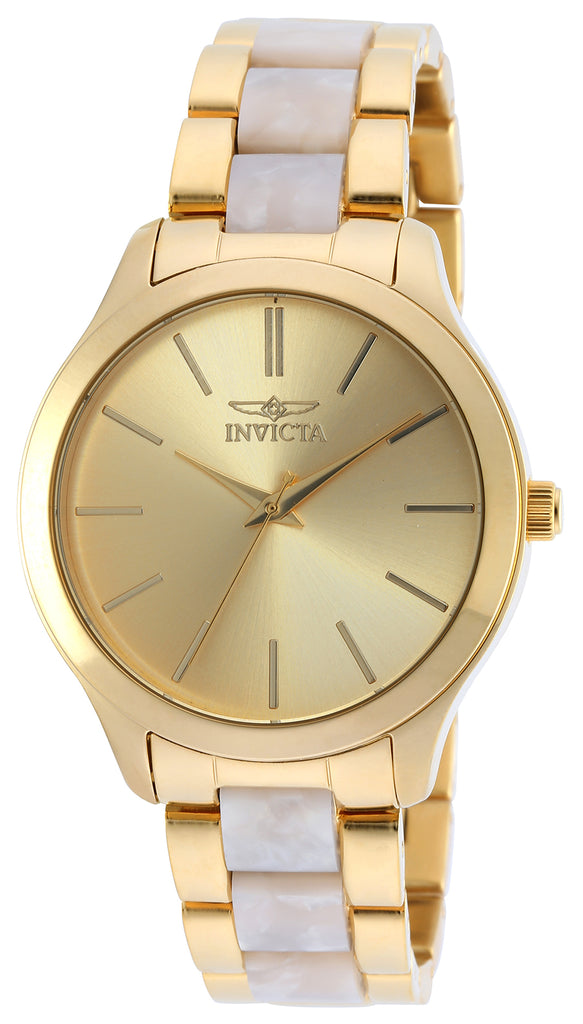 Invicta Women's 20496 Angel Quartz 3 Hand Gold Dial Watch