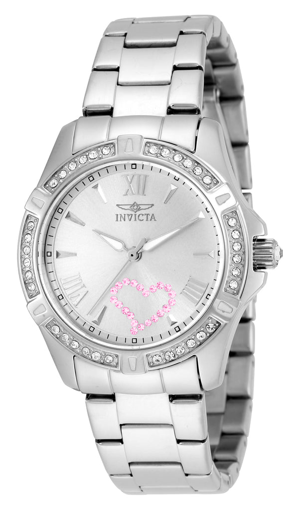 Invicta Women's 21416 Angel Quartz 3 Hand Silver Dial Watch