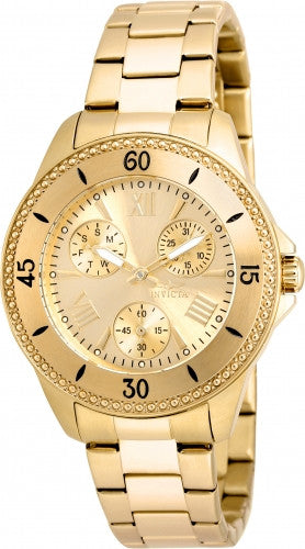 Invicta Women's 21683 Angel Quartz 3 Hand Gold Dial Watch