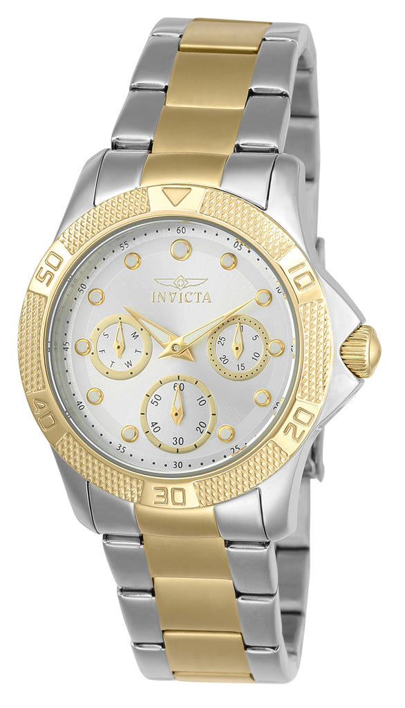 Invicta Women's 21763 Angel Quartz Chronograph Silver, Gold Dial Watch
