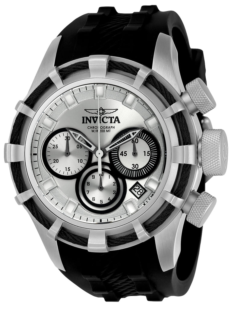 Invicta Men's 22147 Bolt Quartz Chronograph Silver, Black Dial Watch