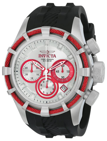 Invicta Men's 22150 Bolt Quartz Chronograph Silver, Red Dial Watch