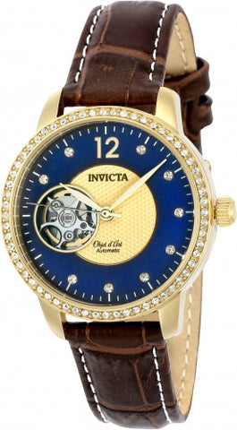 Invicta Women's 22621 Objet D Art Automatic 3 Hand Blue, Gold Dial Watch
