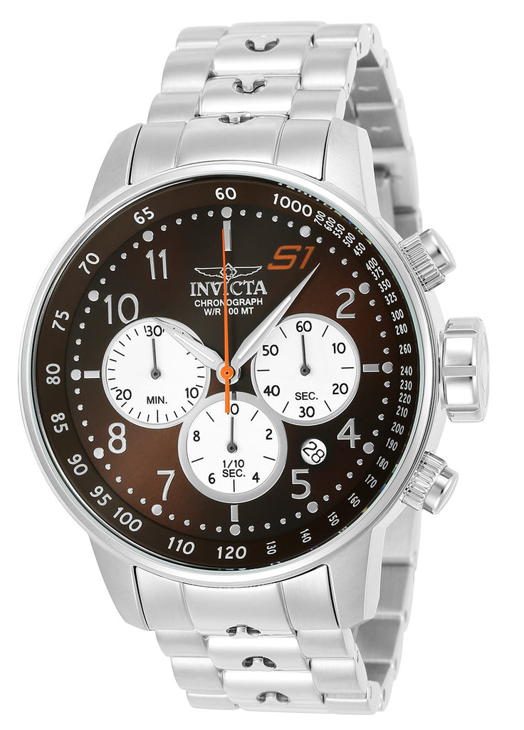 Invicta Men's 23081 S1 Rally Quartz Chronograph Brown, White Dial Watch