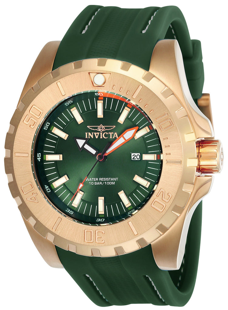 Invicta Men's 23731 Pro Diver Quartz 3 Hand Green Dial Watch