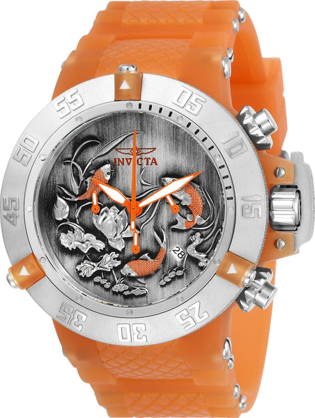 Invicta Men's 24356 Subaqua Quartz Multifunction Black, Orange Dial Watch