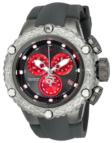 Invicta Men's 24446 Subaqua Quartz Chronograph Gunmetal, Red Dial Watch