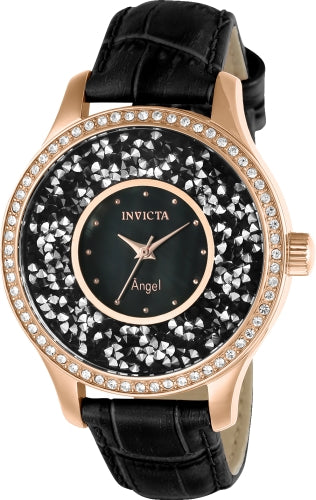 Invicta Women's 24565 Angel Quartz 3 Hand Black Dial Watch