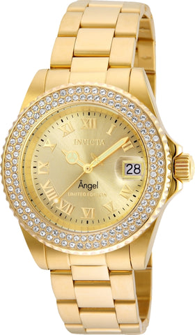 Invicta Women's 24614 Angel Quartz 3 Hand Gold Dial Watch