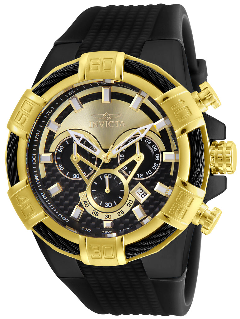 Invicta Men's 24699 Bolt Quartz Multifunction Gold, Black Dial Watch