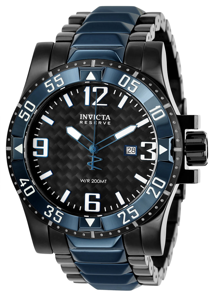 Invicta Men's 25064 Reserve Quartz 3 Hand Black Dial Watch