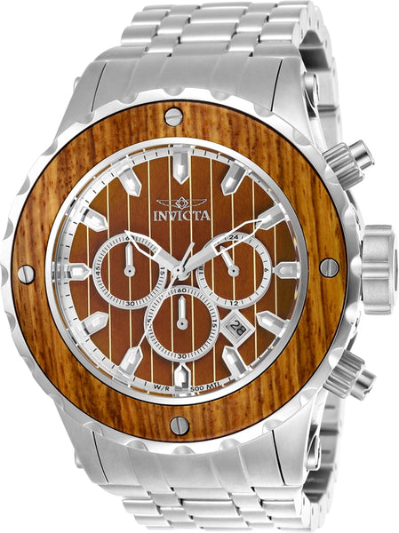 Invicta Men's 25071 Subaqua Quartz Chronograph Brown Wood Dial Watch