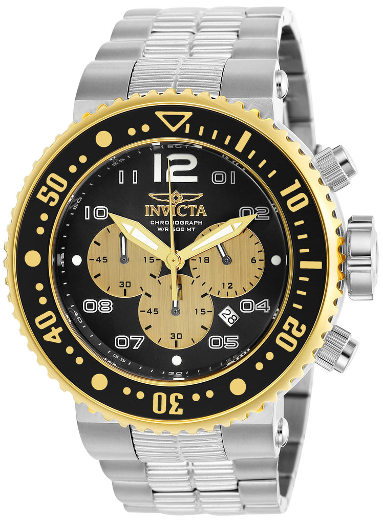 Invicta Men's 25075 Pro Diver Quartz Chronograph Black, Gold Dial Watch