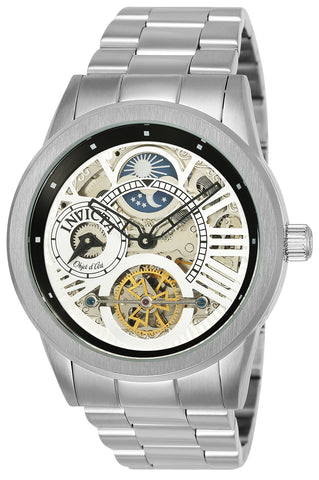 Invicta Men's 25263 Objet D Art Automatic 3 Hand Silver, Black Dial Watch