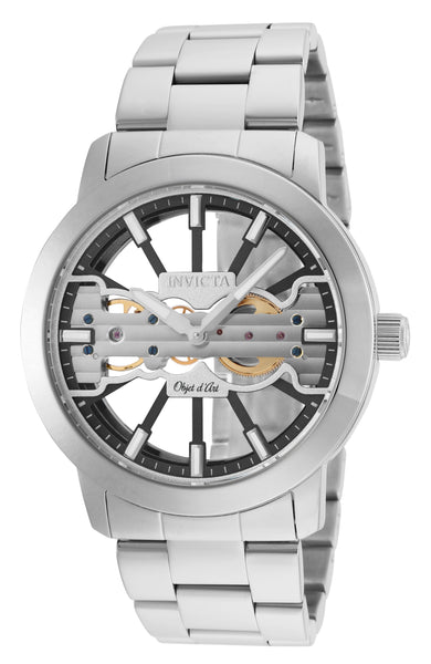 Invicta Men's 25269 Objet D Art Mechanical 2 Hand Black, Silver Dial Watch