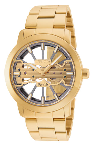 Invicta Men's 25270 Objet D Art Mechanical 2 Hand Grey, Gold Dial Watch
