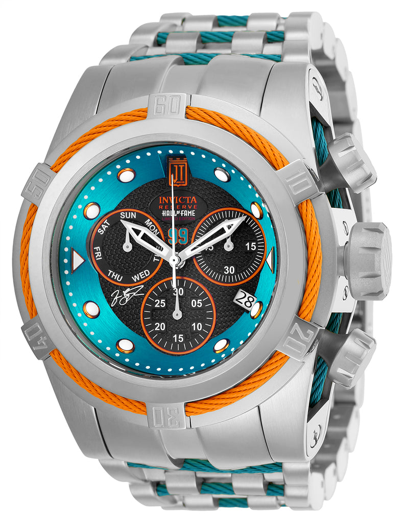 Invicta Men's 25307 Jason Taylor Quartz 3 Hand Black, Aqua Dial Watch