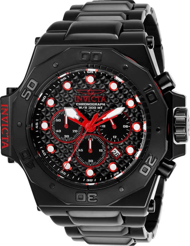 Invicta Men's 25386 Akula Quartz Chronograph Black, Red Dial Watch