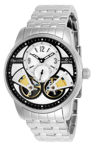Invicta Men's 25577 Objet D Art Automatic Multifunction Silver, Black Dial Watch