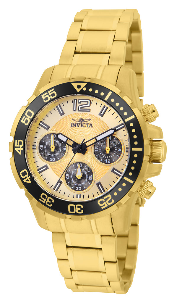 Invicta Women's 25747 Pro Diver Quartz Chronograph Gold Dial Watch