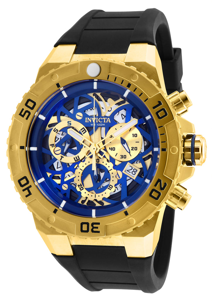 Invicta Men's 26071 Pro Diver Quartz Chronograph Blue, Gold Dial Watch