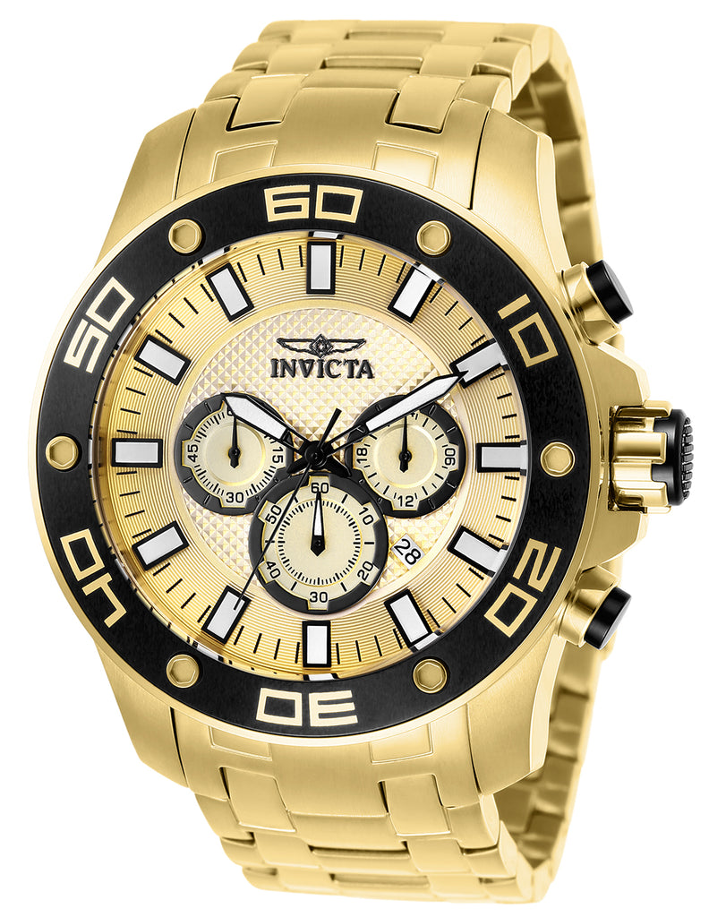 Invicta Men's 26079 Pro Diver Quartz Chronograph Gold Dial Watch