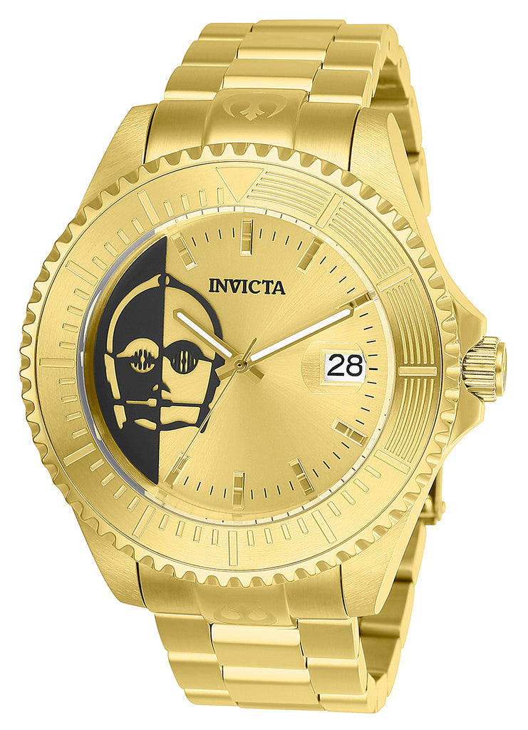 Invicta Men's 26166 Star Wars Automatic 3 Hand Gold, Black Dial Watch