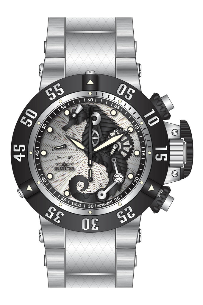 Invicta Men's 26226 Subaqua Quartz 3 Hand Silver, Black Dial Watch