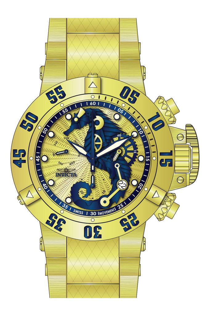 Invicta Men's 26231 Subaqua Quartz 3 Hand Blue, Gold Dial Watch