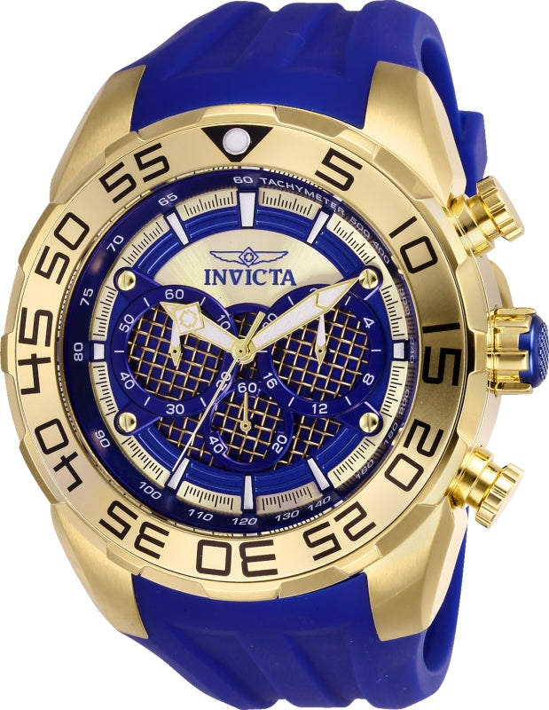 Invicta Men's 26302 Speedway Quartz Multifunction Dark Blue, Gold Dial Watch