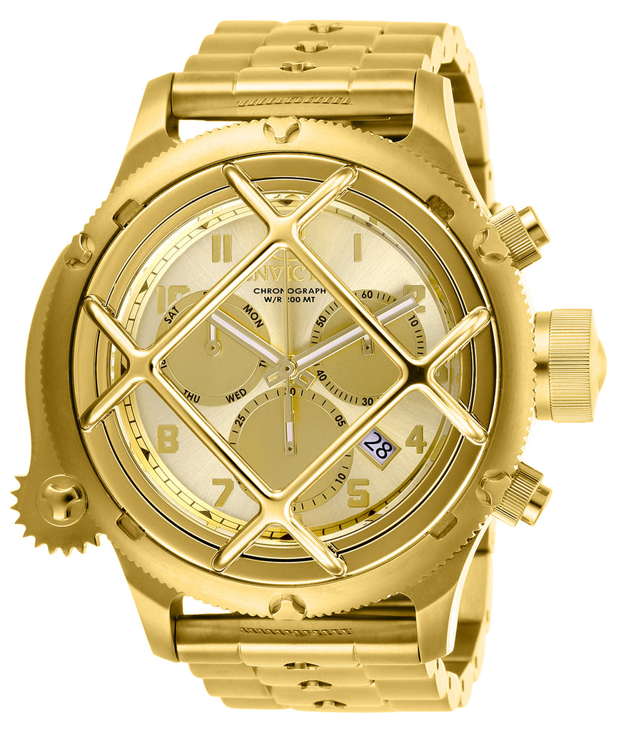 Invicta Men's 26463 Russian Diver Quartz Chronograph Gold Dial Watch