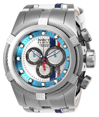 Invicta Men's 26469 Reserve Quartz Chronograph White, Gunmetal, Light Blue, Red, Blue Dial Watch