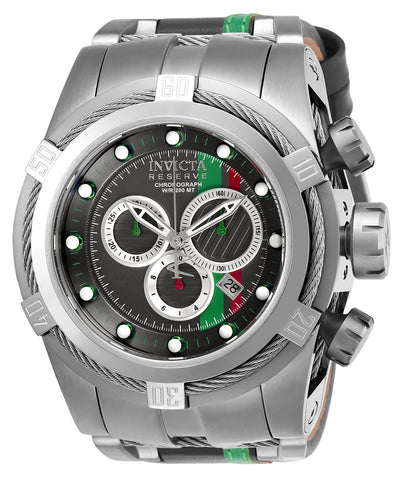 Invicta Men's 26470 Reserve Quartz Chronograph Gunmetal, Red, Green, Silver Dial Watch