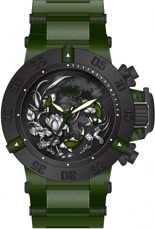 Invicta Men's 26563 Subaqua Quartz 3 Hand Black, Green, Silver Dial Watch