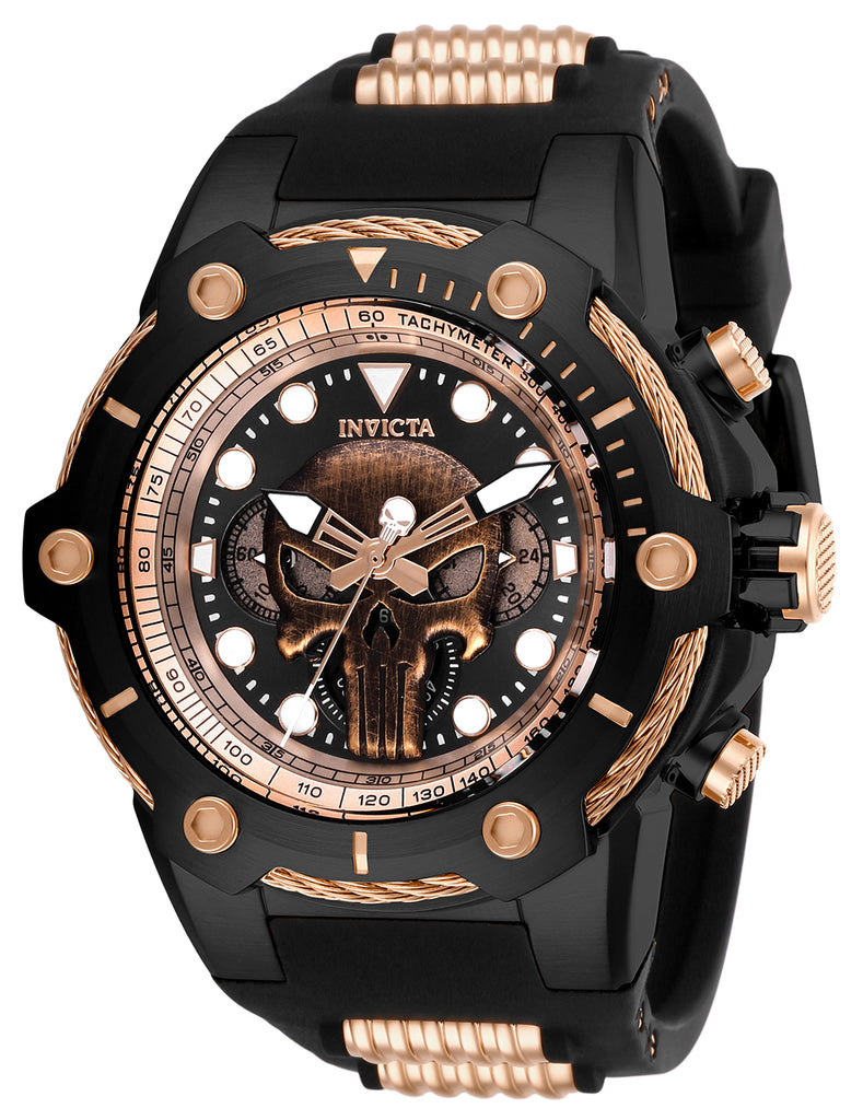 Invicta Men's 26926 Marvel Quartz Chronograph Black, Rose Gold Dial Watch