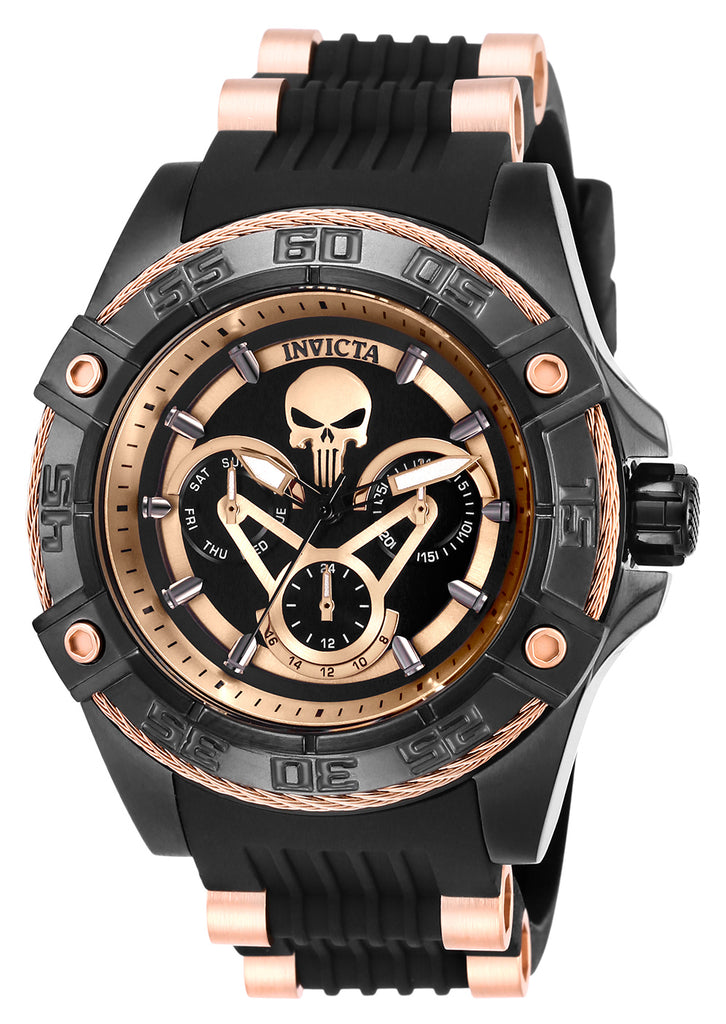 Invicta Women's 27035 Marvel Quartz Multifunction Black, Rose Gold Dial Watch