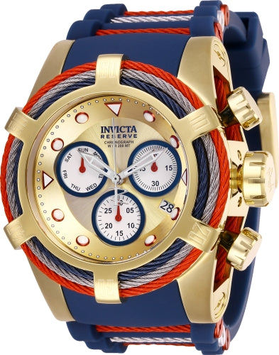 Invicta Men's 27147 Bolt Quartz Chronograph Gold, White, Blue Dial Watch