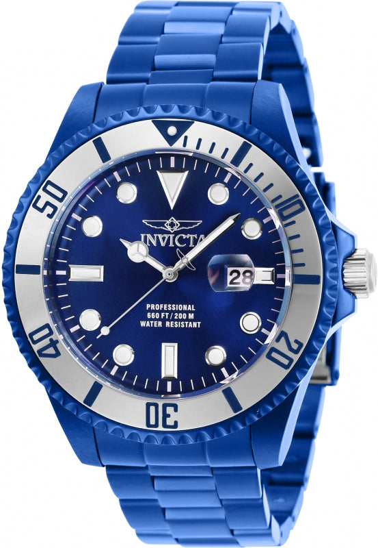 Invicta Men's 27538 Pro Diver Quartz 3 Hand Blue Dial Watch