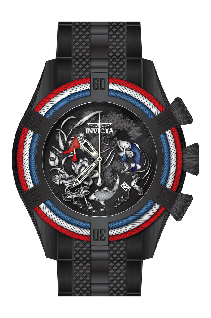 Invicta Men's 28204 Bolt Quartz 3 Hand Black, Blue, Red Dial Watch