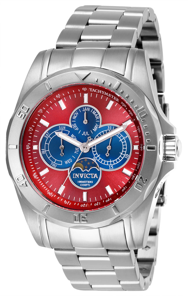 Invicta Men's 28596 Specialty Quartz 3 Hand Blue, Red Dial Watch