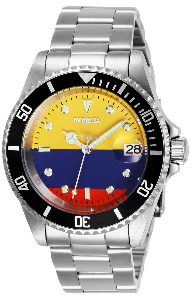 Invicta Men's 28701 Pro Diver Automatic 3 Hand Yellow, Blue, Red Dial Watch