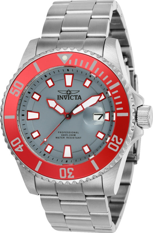 Invicta Men's 90291 Pro Diver Quartz 3 Hand Grey Dial Watch